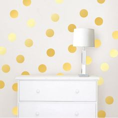 Brewster Home Fashions Gold Confetti Dots Set Polka Dot Wall Decals, Polka Dot Walls, Gold Polka Dots, Wall Stickers Gold, Confetti Wall, Gold Confetti, Up House, Gold Walls, White Walls