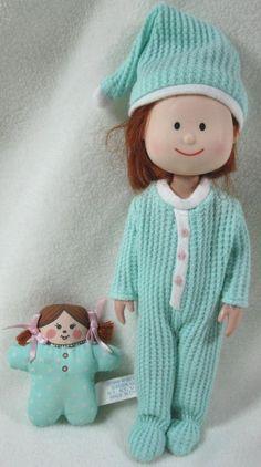 "Madeline 8"" Doll Green Thermal Pajamas & Mini Doll Eden Toys #DollswithClothingAccessories"