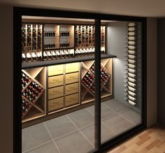 VintageKeeping Glass Wine Cellar, Wine Cellar Racks, Home Wine Cellars, Wine Cellar Design, Wine Rack, Cellar Inspiration, Basement Inspiration, Caves, Living Room Built In Cabinets