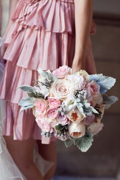 unbelievably gorgeous....love the pleated bridesmaid dress and the bouquet leaves me wordless.