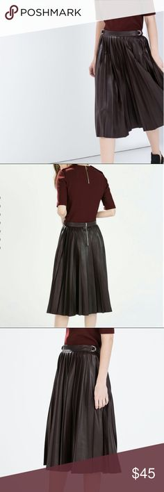 Zara Brown Faux Leather Pleated Accordion Skirt Worn once! In GREAT condition! It's just been sitting in my closet.  To remove the wrinkles: set your iron to warm, place cotton/linen pillow case or towel over the crease, and gently press it flat for a few seconds. Iron the opposite side. Streaming before ironing also helps!  Love the skirt, but not the price? Make me an offer!  No trade. Smoke-free home. Actual color may vary slightly from your monitor. Zara Skirts Midi