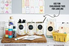 Use fun (and reusable) chalkboard tags for labeling supplies, food and more at your party!