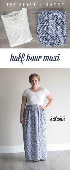 DIY Womens Clothing : easy-maxi-dress-women-tee-sheet-how-to-sew-tshirt-gathered-skirt-5