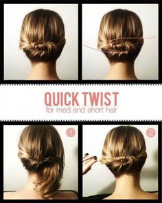 Tutorial for Girls - quick twist updo for medium abd short hair