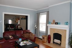 Valspar autumn fog paint. This isn't my living room but it is the color my living room is being painted. Blue gray