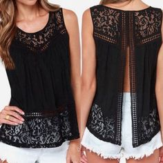 ‼️1hr SALE‼️Beautiful black top with lace. Black top with lace. Worn once. Great for any occasion! Tops Blouses