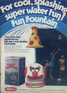 Clown fountain--this thing freaked me the eff out as a kid. It was so scary looking!