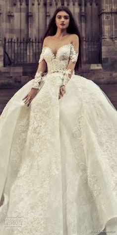 julia kontogruni 2018 bridal long sleeves sweetheart neckline full embelllishment princess ball gown wedding dress sheer button back royal train (1) zv