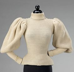 From the Brooklyn Museum's fashion collection acquired by the Metropolitan Museum:  French wool sweater made in 1895. Featured in the Met's American Woman exhibit. Oh, the sleeves.