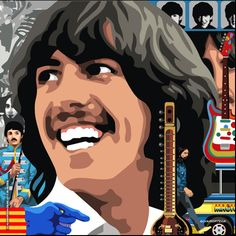 George Harrison & the Beatles Beatles Art, The Beatles, Beatles Funny, Beatles Poster, Norman Rockwell, Monet, The Quarrymen, I Am The Walrus, Classic Rock