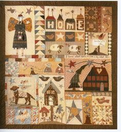 home sweet home Sewing Appliques, Applique Patterns, Quilt Patterns, Quilting Ideas, Colchas Country, Country Quilts, Primitive Quilts, Antique Quilts, Embroidery Sampler