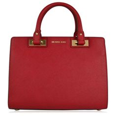 MICHAEL Michael Kors Quinn Satchel Bag ($455) ❤ liked on Polyvore featuring bags, handbags, red leather purse, red leather satchel, satchel purse, leather satchel handbags and studded leather handbag