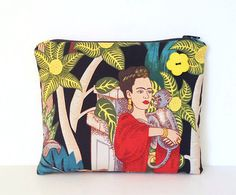 Frida Kahlo with Monkey zipper bag a cosmetic case by MiZenDesigns