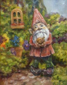 Gnome's World Oil Painting Flower Art Landscape Figures Fantasy, painting by artist Debra Sisson