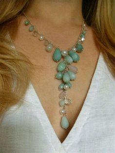 Mint Necklace by LaMerLove Mint Necklace, Stone Necklace, Crystal Necklace, Beaded Necklace, Wire Jewelry, Jewelry Crafts, Beaded Jewelry, Jewellery, Bullet Jewelry
