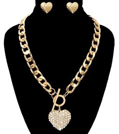 Gold Heart Toggle Necklace Set for Valentine's Day