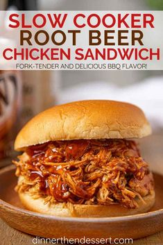 Slow Cooker Root Beer BBQ Chicken is an easy weeknight meal or party food made with root beer barbecue sauce.Perfect for Sandwiches tacos & more. Barbeque Chicken Crockpot, Root Beer Chicken, Slow Cooker Recipes, Crockpot Recipes, Chicken Recipes, Cooking Recipes, Crockpot Dishes, Casserole Recipes, Yummy Recipes