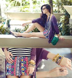 A really cute look from Kryz Uy, one of my favorite bloggers. :) Love the tribal romper and accessories <3