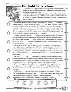 American revolution worksheets elementary