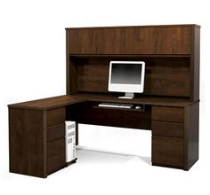 L-shaped Desk with Hutch in Chocolate or Bordeaux/Graphite