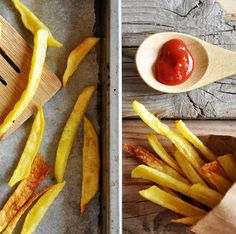 Homemade Oven Baked French Fries: all you need is cut up potatoes, Tbs of olive oil and salt. Bake on baking sheet @400 for 25-30 min. (You can soak potatoes in cold water first & then dry on paper towels)
