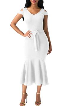 White Cold Shoulder Bow Detail Mermaid Dress #mididress #whitedress #coldshoulder #mermaid