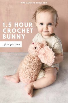 You won't believe how easy this free crochet bunny pattern from Make and Do Crew is until you try it yourself. Made from a simple rectangle, you'll be able to finish this beginner crochet rabbit in a couple of hours. Fast crochet baby shower, Easter or Christmas gift pattern that you can make from stash yarn! #makeanddocrew #crochetbunny #beginnercrochetpattern