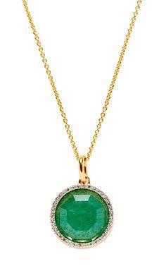 Gold Plated Green Aventurine And Diamond Diva Circle Pendant by Monica Vinader for Preorder on Moda Operandi