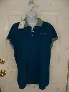 Nike Golf Ladies Dri-Fit Teal Classic Polo Shirt Size Large Women's NEW #NikeGolf #ShirtsTops