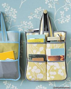 """Hang on the backdoor so grab and go. Put all the things you need for errands,etc. Could use fat quarters or scraps if you add a seam allowance for piecing them together"" (I wish those instructions made sense to me!)"