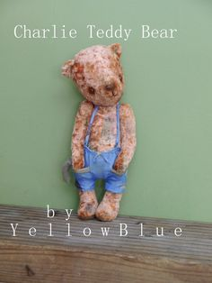 OOAK Artist Teddy Bear Charlie /vintage  by yellowbluestudio,