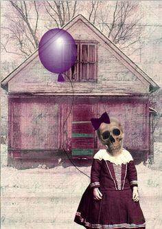 Day of the dead Skeleton Girl art print ~  by MixedMediaMuseum