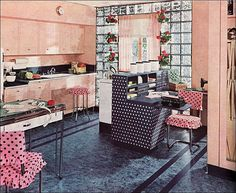 I love (!) this wonderfully spacious, sweetly beautiful 1940s pink and polka dot filled kitchen.