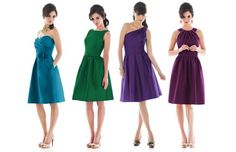 bridesmaid ideas- I like the purple one on the end. It wouldn't be that color but I like the style.