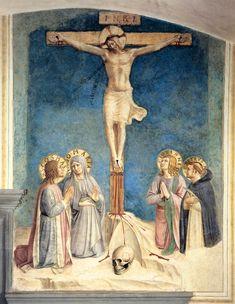 FRA ANGELICO. Crucifixion con la Virgen y los Santos  Cosme, Juan Evangelista y Pedro Mártir.