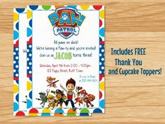 Custom Made Paw Patrol Birthday Invitation Paw by MyBabiesBreath