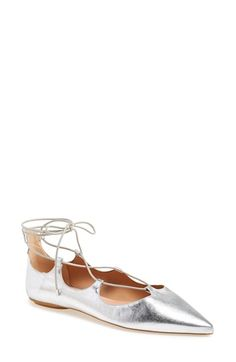 Topshop 'Leather Kingdom' Pointy Toe Flat (Women) available at Pointy Toe Flats, Toe Shoes, Shoes 2015, Topshop Shoes, Lace Up Flats, All About Shoes, Classic Pumps, Fall Shoes, Leather Flats