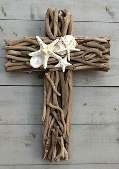 Driftwood Seashell Cross