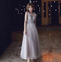 Elegant Grey V-neck Dress, Grey Waisted Tulle Sleeveless Dress, Formal Party Dress Backless Prom Dresses, Strapless Gown, Lace Evening Dresses, Grey Party Dresses, Flower Girl Dresses, Formal Dresses, Wedding Dresses, Ball Dresses, Off Shoulder Evening Dress