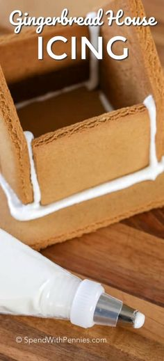 Gingerbread House Icing is the perfect royal icing recipe to hold together all of your baked gingerbread cookies! Gingerbread House Icing is the perfect royal icing recipe to hold together all of your baked gingerbread cookies! Gingerbread House Frosting, Gingerbread House Parties, Christmas Gingerbread House, Christmas Sweets, Christmas Cooking, Royal Icing Recipe For Gingerbread Houses, Gingerbread Frosting Recipe Easy, Gingerbread Recipes, Decorating Gingerbread Cookies