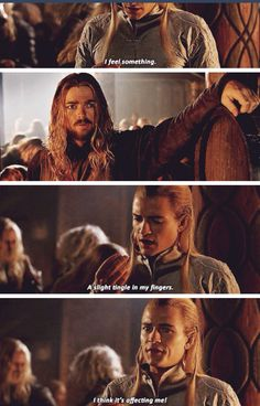 LEGOLAS >>> Eomer looks so scared for his safety Tolkien Hobbit, O Hobbit, Lotr, Legolas And Thranduil, Gandalf, Orlando Bloom Legolas, Funny Scenes, Music Memes, Fantasy Movies