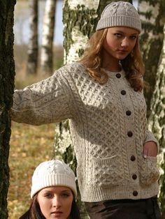 Аран ремесла ірландський Аран жінок Шерсть Кабельне в'язати Традиційний ірландський застебнутому Пиломатеріали светри кардигана