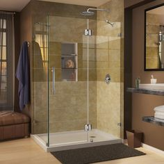 DreamLine Quatra Lux 34-5/16 in. x 72 in. Frameless Corner Shower Enclosure in Chrome with handle