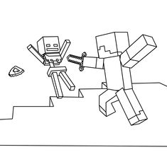 Minecraft Coloring Page - Coloring Picture - Steve and Skeleton