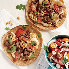 "Ground Lamb and Hummus Pita ""Pizzas"" | MyRecipes.com #myplate #protein #vegetables"