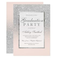 Faux silver glitter blush pink Graduation party Card Celebrate the grad with this modern, pretty chic and elegant faux silver glitter shower ombre with blush pink color block graduation party invitation with silver ombre pattern fading onto a pastel pink background with and elegant gold frame Perfect for a princess graduation party, perfect for her, the fashionista who loves modern pattern and glam #ad