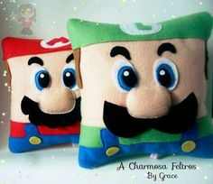 Mario & Luigi Pillows No instructions available. & Kids Pillows & Ideas of Kid& Mario Crafts, Geek Crafts, Super Mario Birthday, Super Mario Party, Mario Und Luigi, Mario Room, Felt Pillow, Sewing Projects For Kids, Kids Pillows