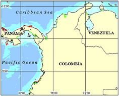 Colombia: The only South American Country with both Pacific and Caribbean Coasts, Colombia has a total coastline of approximately 3,000km and an extensive marine area totaling 928,660km2. These marine and coastal areas host a diverse range of ecoystems including coral reefs, mangroves, beaches, seagrass beds, wetlands, seamounts, and other oceanic features. Columbia Coral Reef Maps.