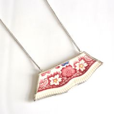 Jewelry made from old china. Really eye catching! Dorchester Necklace Wide, $40, now featured on Fab.