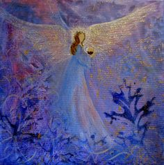 Original Acrylic Painting Healing Energy Angel and BABY 8 x 8 wrap around canvas with Gold Metallic paint